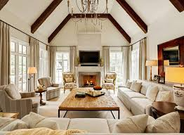 pretty family home interior designs with vaulted ceiling large chandelier
