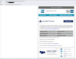 sed american express account alert card not present