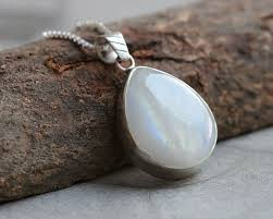 natural rainbow moonstone pendant necklace silver pendant