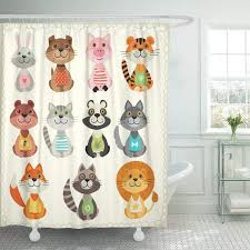 fabric shower curtain with hooks cute of with animals dog tail toys wild wolf baby bear