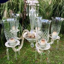 antique glass crystal prism chandelier 5 arm original lattice etched glass globes shades light fixture candelabra