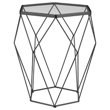 glass side table. Geometric Metal Wire And Glass Side Table