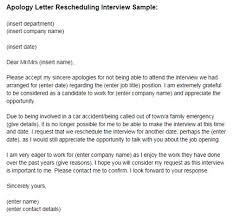 Apology Letter Reschedule Interview Sample Just Letter