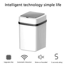 10L akıllı çöp tenekesi otomatik hareket dedektörü çöp kovası akıllı çöp  kutusu sessiz çöp torbası konteyner mutfak banyo için Waste Bins