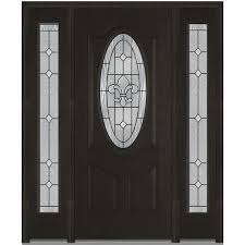 mmi door 64 in x 80 in carrollton right hand oval lite decorative