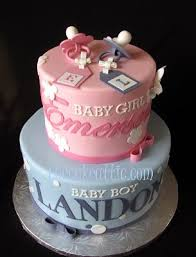Pink And Blue Baby Shower Cakes For Twins With Pacifiers The Cake