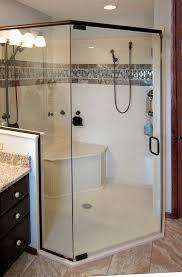Walk in shower with custom corner bench
