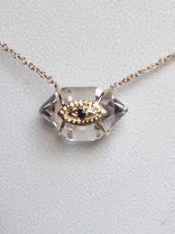 14 karat gold herkimer diamond evil eye blue sapphire herkimer diamond pendant