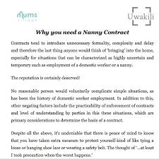 Printable Nanny Contract Nanny Contract Nanny Services