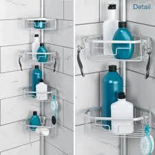 Plastic Corner Shower Shelves NeverRust Tension Pole Corner Shower Caddy 92