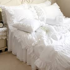 luxury white lace ruffle bedding set twin full queen king cotton girl french princess wed home textile bedspread quilt cover in bedding sets from home