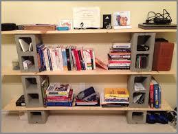 cinderblock furniture. DIY Cinder Block Bookshelf With Six Grey Concrete Blocks And Light Beige Wooden Planks On Ivory Marble Flooring Idea Cinderblock Furniture O