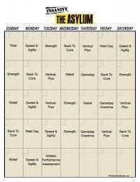 Asylum Workout Calendar | Print A Workout Calendar