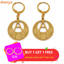 <b>Anniyo</b> A Z Gold Color <b>Kiribati</b> Initial Letter <b>Earrings</b> Women English ...