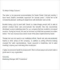 Letter Of Recommendation Customer Service Manager Letter Of Recommendation For Employee From Customer Service