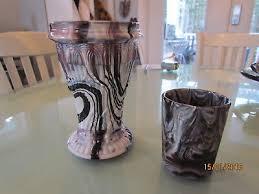 vintage purple plum white slag glass vase toothpick holder or tumbler