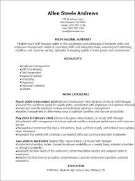 Resume Templates: Hourly Shift Manager Resume