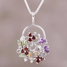 multi gemstone sterling silver pendant necklace from india bouquet of beauty
