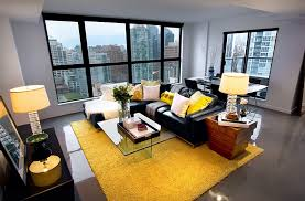 fantastic black grey yellow living room ideas yellow wool rug black leather sectional sofa grey