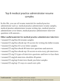 medical administration resume examples top 8 medical practice administrator resume samples