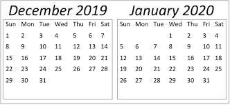 Blank Dec 2020 Calendar December January 2020 Calendar Holidays Template Free