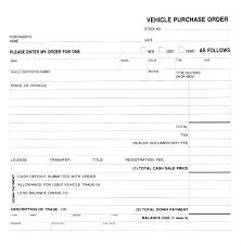 Vehicle Purchase Order Form Sample Template Download Format