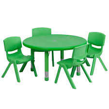 33 round green plastic height adjule activity table set with 4 chairs