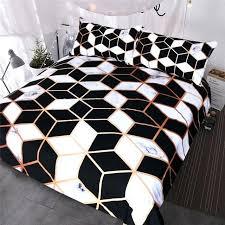 geometric bedding sets geometric bedding set black white duvet cover set marble print blocks cube bed