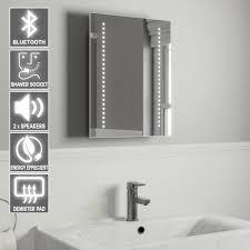 Lighted Bathroom Mirrors With Shaver Socket Audio Bluetooth Led Bathroom Mirror With Lights Heated Demister Pad Shaver Socket Motion Sensor 50x39cm