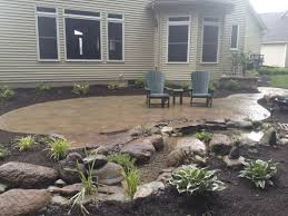 landscape design with led lighting backyard fish pond paver patio installation outdoor living
