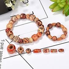 400 pieces printed wooden beads various shapes loose wood beads for jewelry making diy bracelet necklace