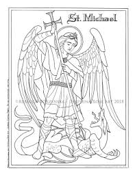 St Michael The Archangel Coloring Page Catholic Christian Etsy