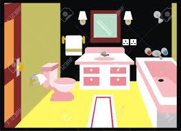 Vector Toilet Bathroom Including Mirror Lamp Towel Tissue Paper