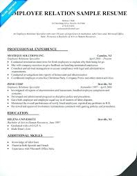 Labor Relations Specialist Resume Samples Employee Cover Letter For Custom Employment Specialist Resume