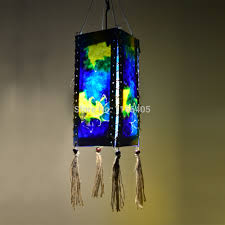 Us 2499 3 Pcs Blue Color Painting Handmade Paper Lantern Lampshade Portable Lighting Outdoor Garden Night Led Lamp Shade A1007 In Holiday
