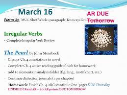 ar due tomorrow irregular verbs the pearl by john 16 ar due tomorrow irregular verbs the pearl by john steinbeck