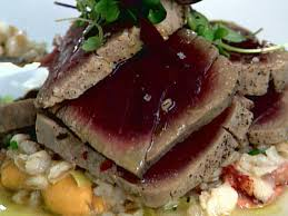 olive oil poached tuna infused with thyme lemon and shallots recipe scott conant food network