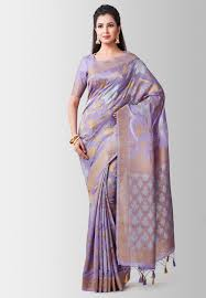 Light Purple Color Saree Light Purple Kanjivaram Silk Saree With Blouse 185986