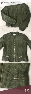new york company faux leather jacket 18 armpit to armpit and 20 from top to bottom olive green faux leather moto jacket in good condition