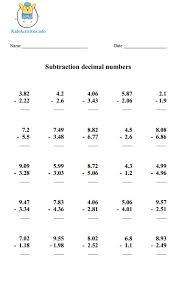 Subtracting Decimals Worksheets Horizontal   Homeshealth.info