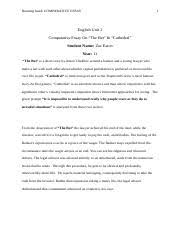 comparative essay on ldquo the bet rdquo ldquo cathedral rdquo running head comparative essay on ldquothe betrdquo ldquocathedralrdquo running head comparative essay 1 english unit 2 comparative essay on the bet cathedral