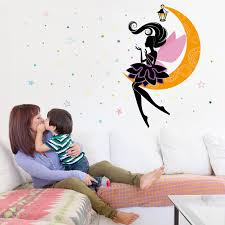 cute moon fairy wall stickers for girls room removable lovely princess