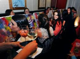 wine and painting nyc pickup artists have plenty to work with at paint nite ny daily news images