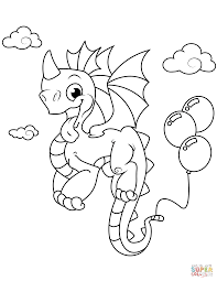 Cute Dragon With Balloons Coloring Page Free Printable Coloring Pages