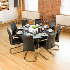 Round Kitchen Tables For 8 Luxury Large Round Black Oak Dining Table Lazy Susan 8 Chairs