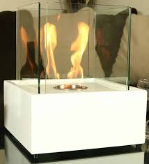 sunnydaze white large cubic ventless tabletop bio ethanol fireplace