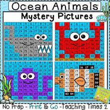 Ocean Animals Hundreds Chart Hidden Picture Hidden