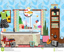 Funky Bathroom Cluttered Funky Retro Bathroom Royalty Free Stock Photo Image