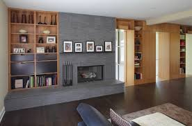 built in shelves around fireplace