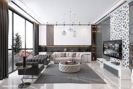 apartment design. Gray And White Luxury Living Room Apartment Design W